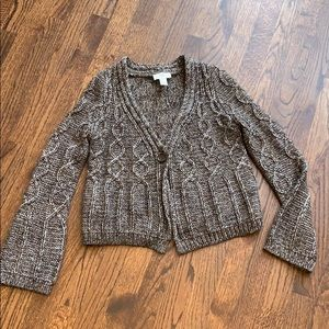Loft one button cropped cardigan sweater